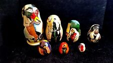 RUSSIAN NESTING DOLLS FIDDLER ON THE ROOF 7PC HAND PAINTED CIRA 1980
