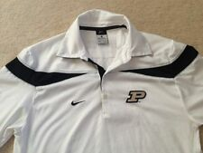 MENS PURDUE Boilermakers NIKE Size XS 30-32 GOLF POLO Shirt Dri-Fit White Poly