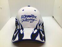 Draw-Tite Racing Strapback Hat Black Blue Flames White Cap  #19