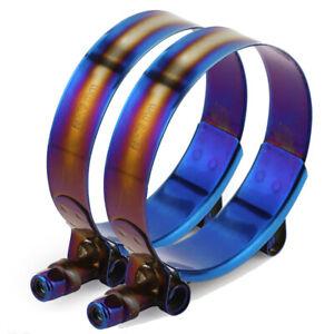 2× Adjustable Stainless Steel T-Bolt Clamp Universal 2.5'' 65-73mm Titanium Blue
