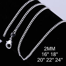 2MM SOLID 925 STERLING SILVER CURB CHAIN NECKLACE 16 18 20 22 24 26 28 INCH UK
