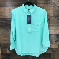 New Lauren James Women's Turquoise Rolled Sleeve Button Up Henley Blouse Top