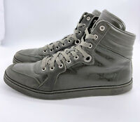 Gucci Authentic GG Glossy Imprime Military Green High Top Sneakers 8 US 9 W/ Box