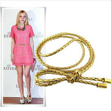 Women PU Leather Gold Metaic Vintage Thin Round Bling Twisted Rope Belt