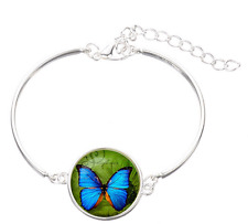 butterfly glass cabochon Tibet silver  Fashion charm bangle  bracelets wholesale