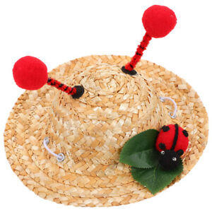1Pc Straw Hat Cat Lovely Puppy Beach Hat Pet Costume Accessory