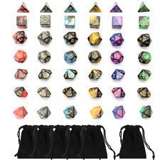 Polyhedral Dice Double-Color For RPG MTG Game 42pcs 6Set With Bag 4/6/8/10/12/20