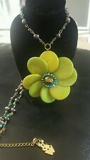 Butler and wilson green flower and crystal necklace .stunning