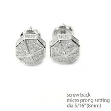 Back Stud Earrings Se 11622 S Men's Bling Icy Silver Plated Octagon Screw
