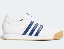 Zapatos De Cuero Adidas Originals Samoa Vintage Entrenadores En Blanco Y Azul