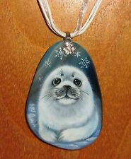 Genuine Russian Hand painted natural STONE pendant White Baby SEAL PUP signed