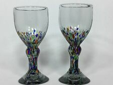 Multicolored Wine Glasses/Goblets Heavy Glass Set Of 2 1.5oz Each
