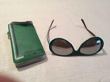Vtg MARTIN SNO Mirror Lens Sunglasses Aviator Red White Green Ski Original Case