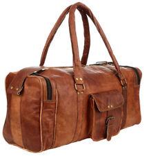 Men's Vintage Brown Large Leather Gym Weekend Luggage Travel Duffel Bag Handmade