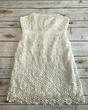 Lilly Pulitzer Womens 2 Bowen White Floral Lace Crochet Strapless Dress Daisy