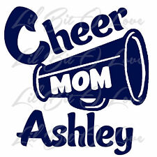 Custom Cheer Mom Megaphone Vinyl Decal with  Cheerleader's Name Sticker For Car