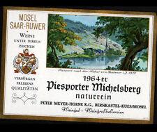 """ETIQUETTE Chromo ANCIENNE de VIN """"PIESPORTER MICHELSBERG"""" de BERNKASTEL en 1964"""