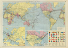 World Europe North America air routes. National Aircraft Markings LARGE 1952 map