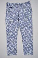 GAP White Blue Print Splash Circles Denim Always Skinny Ankle Jeans Sz 31