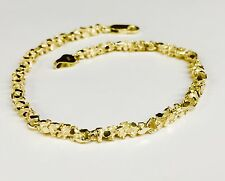 "10kt solid gold handmade NUGGET link chain/bracelet 7.5"" 9 grams 4 MM"