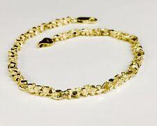 """10kt solid gold handmade NUGGET link chain/bracelet 8"""" 9 grams 4 MM"""