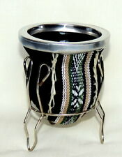 Argentina Hand Made Black Leather & Glass Yerba Mate Gourd Cup With Stand
