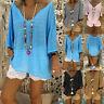 Women V-Neck Caftan Boho Beach Cover Plus Size Lady Vintage Hippie Baggy Dress H