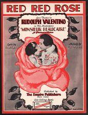 Red Red Rose 1924 Rudolph Valentino Monsieur BeaucaireSheet Music