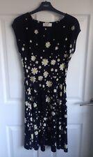 Ladies Wallis Daisy Print Black Dress With Tie - Size 8 Petite