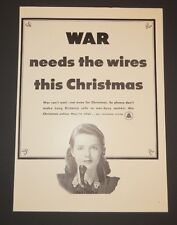 Original 1942 Print Ad  BELL TELEPHONE SYSTEM War Needs Wires