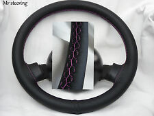 FOR PEUGEOT 505 1979-1992 BLACK ITALIAN LEATHER STEERING WHEEL COVER PINK STITCH