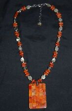 SILPADA - N1260 - Spnge Coral MOP Abalone Shell Orange Shell Necklace - RARE HTF