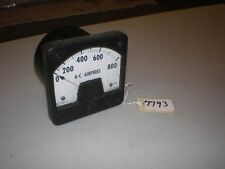 """Westinghouse AC Ampere Meter 0-800 Amperes Type KA-221 Style 291B672A27 4.5X4.5"""""""