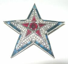 VINTAGE CROWN TRIFARI LAYERED RHINESTONE RED WHITE BLUE LARGE STAR BROOCH PIN