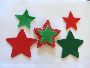 12 Wool Blend FELT Stars - 6 each of 2 sizes - Die Cut  - VARIOUS COLOURS