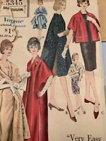 1961 Vintage VOGUE Sewing Pattern #5345  COAT & STOLE Sz Medium 14-16 Complete