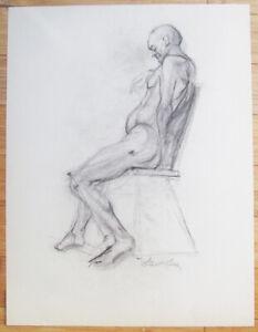 Original 1940's Nude Male STEWART KLONIS Modernist Students League N.Y. Listed