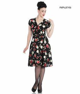 Hell Bunny 40s 50s Elegant Pin Up Dress VALENTINA Black Roses XS 8