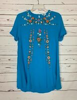 Umgee USA Boutique Women's L Large Blue Embroidered Floral Spring Summer Dress