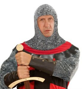 Deluxe Medieval Knight Warrior Metallic Hood St George Adult Fancy Dress Accesso