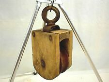 "VINTAGE SQUARE WOOD PULLEY  5"" WHEEL FARM RANCH BARN HAYLOFT"
