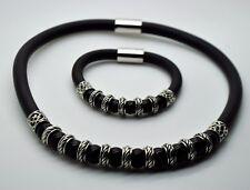 Unique design black Pearls Black Round Rubber fashion bracelet & necklace set