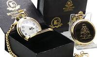 BUDDHA Gold Pocket Watch  Luxury Gift Case Boxed 24k Plated MEDITATION YOGA HEAL
