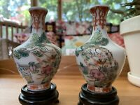 Pair of 19th Chinese Antique Famille Rose Porcelain Vases Tongzhi Dynasty Mark