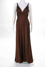 Carmen Marc Valvo Collection Brown Satin Sleeveless Gown Size 4 New