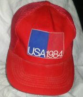 Vintage USA 1984 Trucker Hat One Size Fits All Red Snapback Mesh Trucker Cap A4