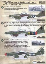Print Scale Decals 1/72 MESSERSCHMITT Me-262 SCHWALBE German Jet Fighter