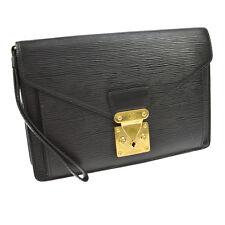AUTH LOUIS VUITTON POCHETTE SELLIER DORAGONNE CLUTCH HAND BAG BLACK EPI BT12992