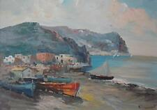 Mediterranean Fishing Village Southern Italy Oil Painting Roberto Zaccardelli c1
