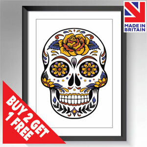 Skull Roses Flowers Goth Framed & Unframed Print Poster Wall Art A3 A4 A5 Sizes
